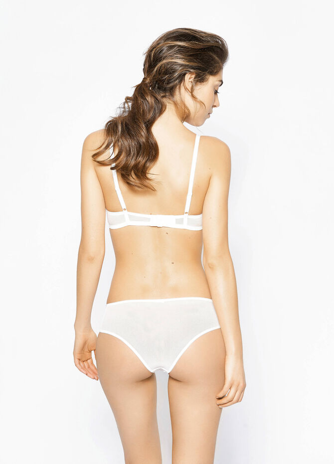 Solid colour stretch Brazilian cut briefs with embroidery