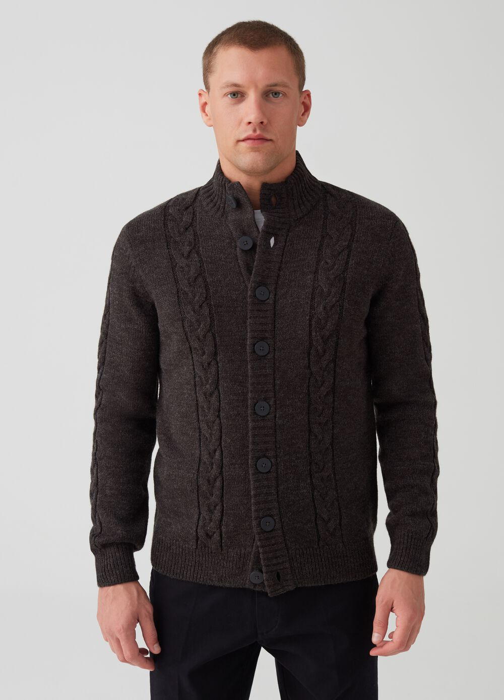 Wool blend knitted cardigan