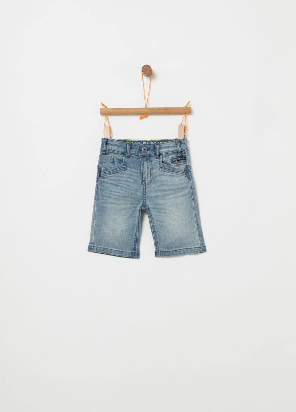 Stretch denim Bermuda shorts with functional pockets