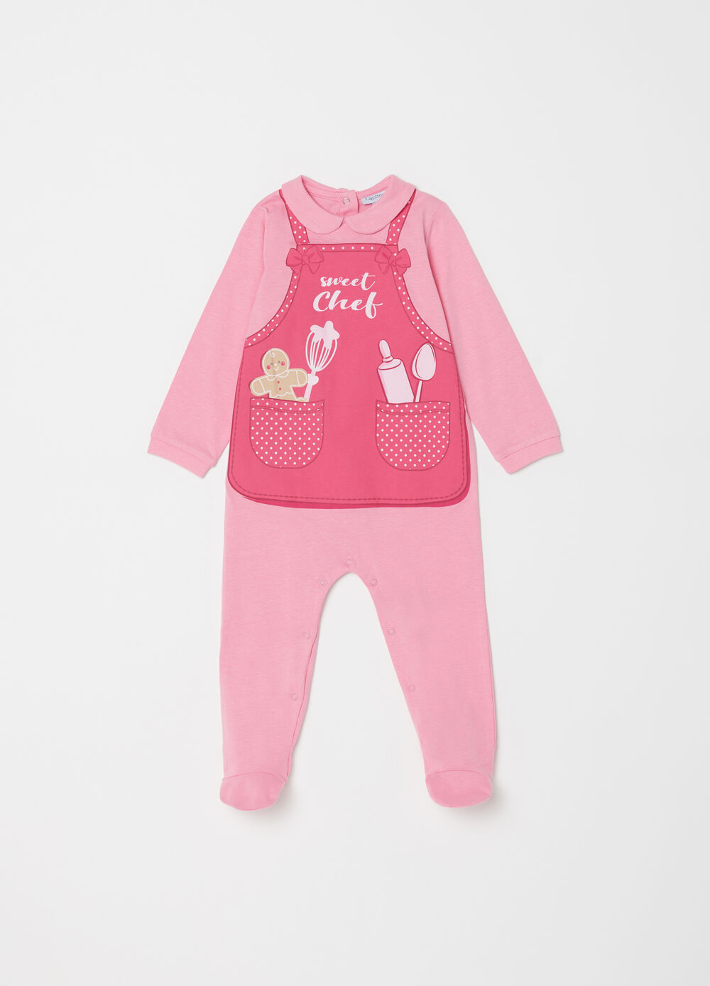 Chef print onesie with feet