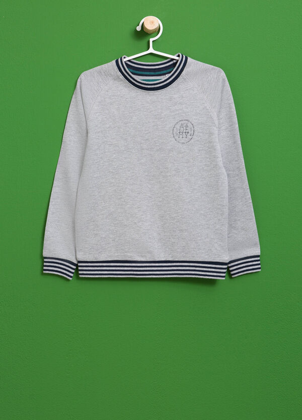 Cotton sweatshirt with striped ribbing and print | OVS
