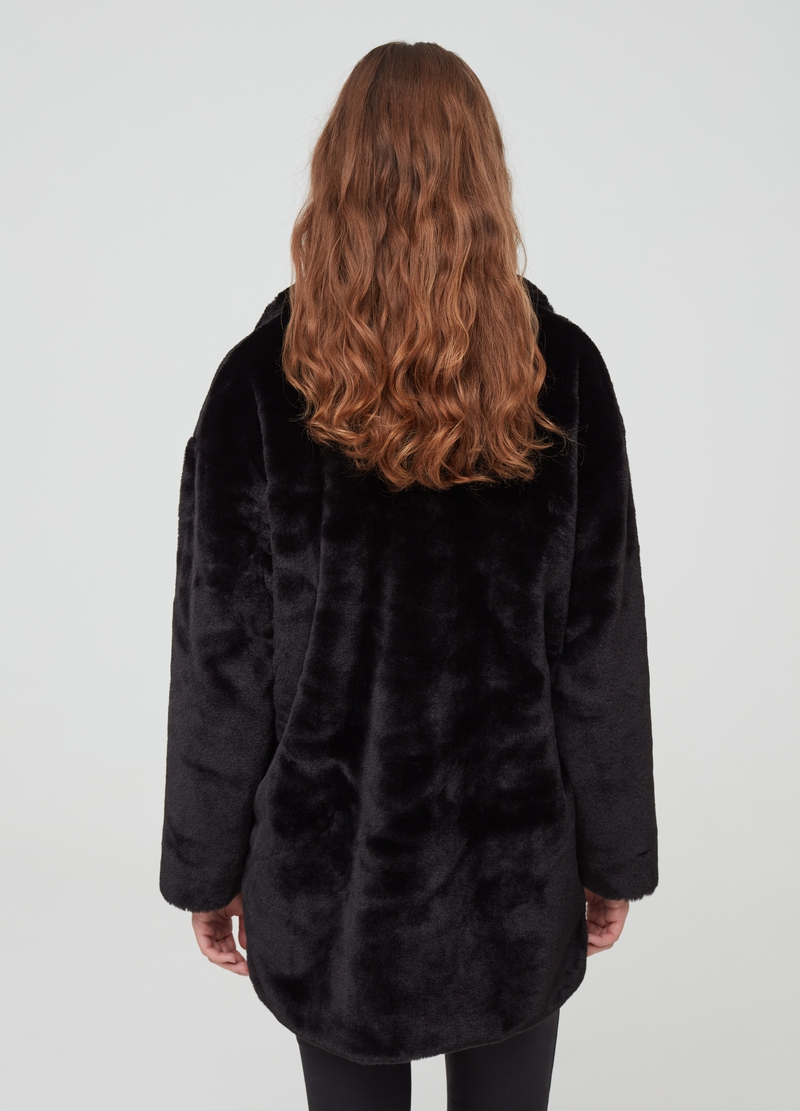 Faux fur coat with lapels image number null