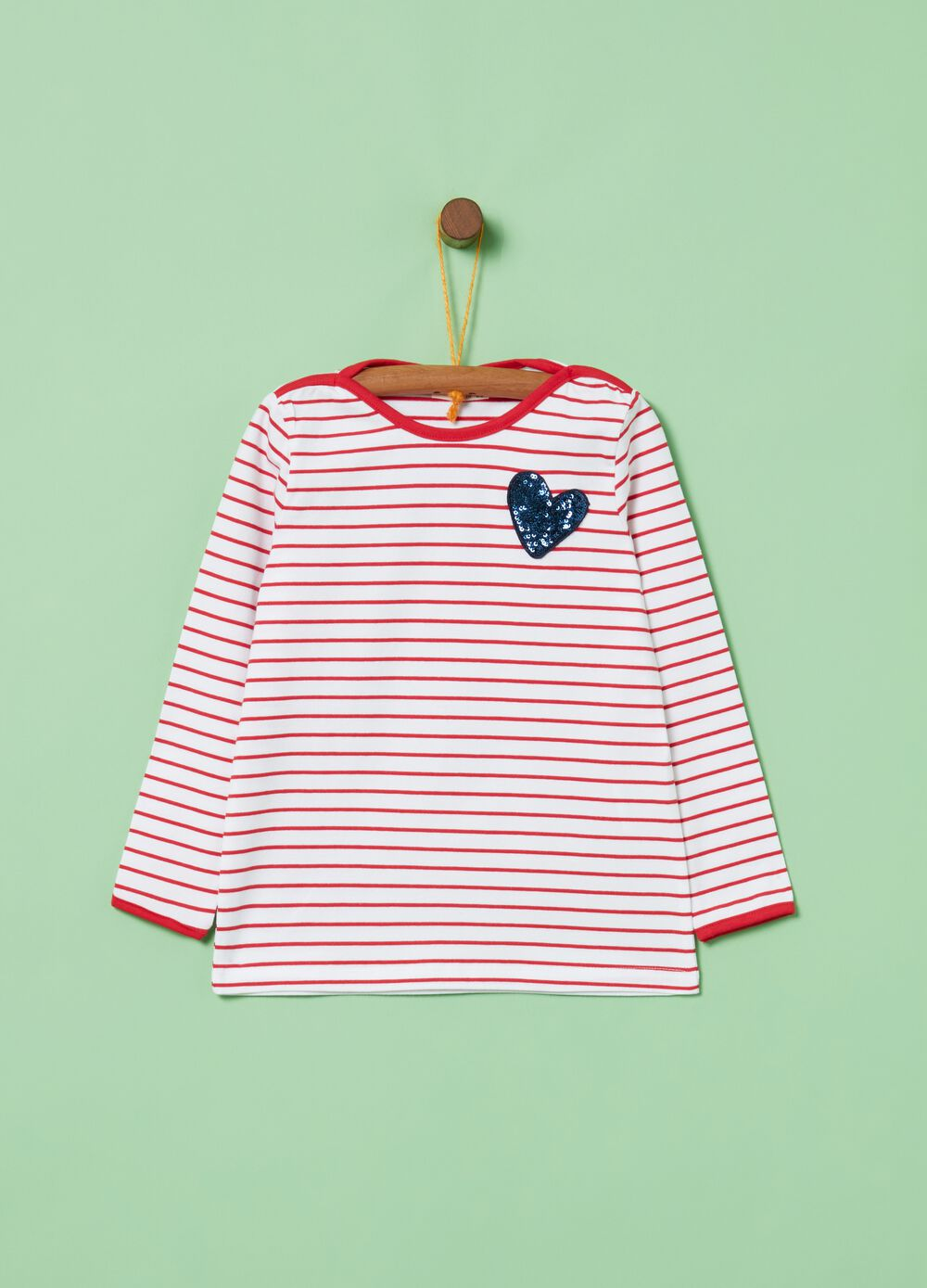 Biocotton T-shirt with sequins and stripes