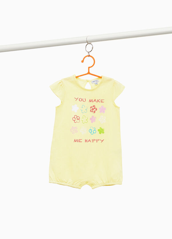 Solid colour cotton sleepsuit