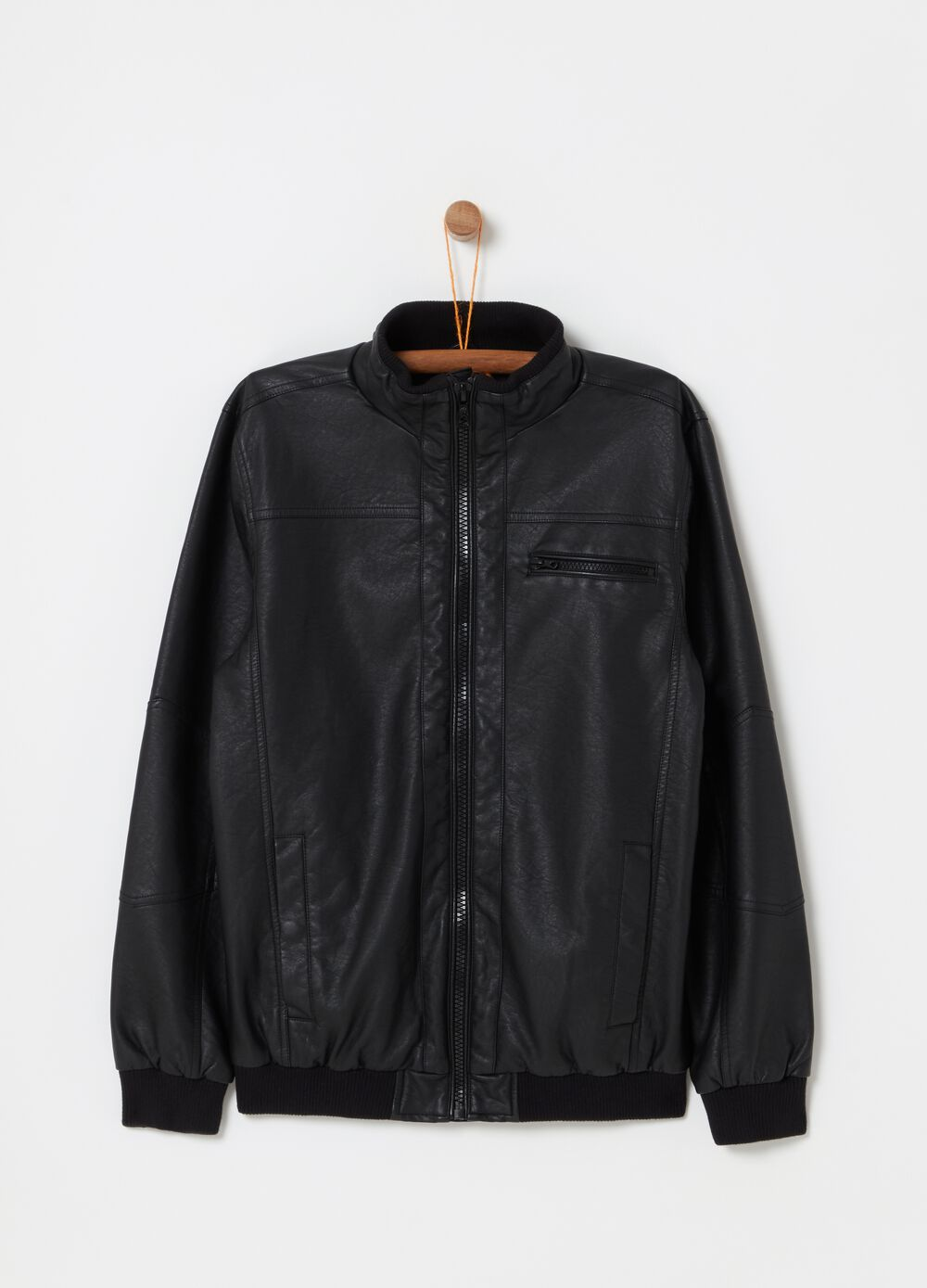Solid colour leather-look biker jacket