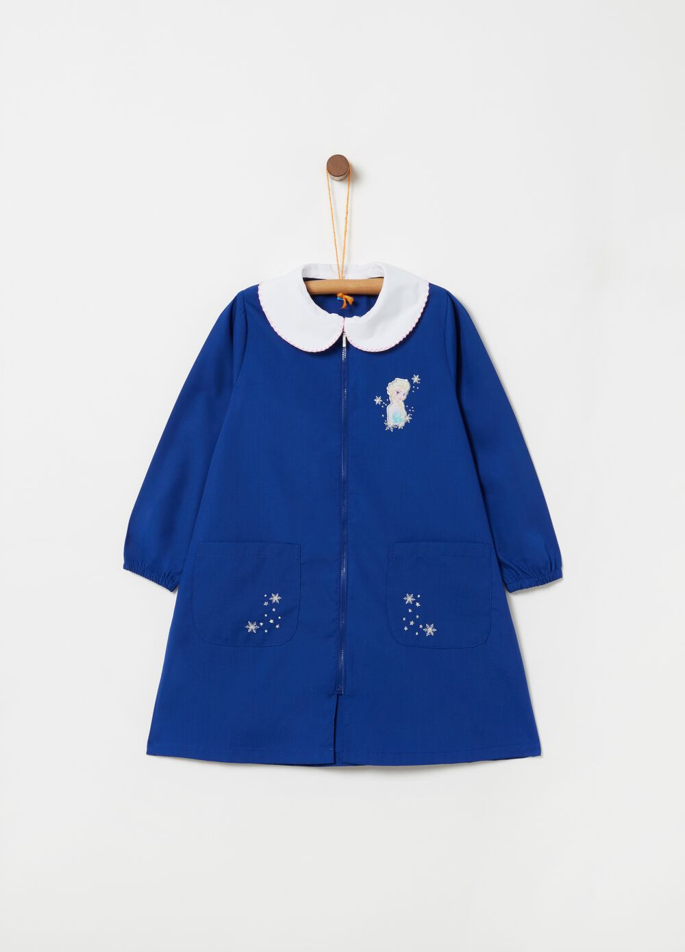 School smock with zip fastening and Elsa Frozen print