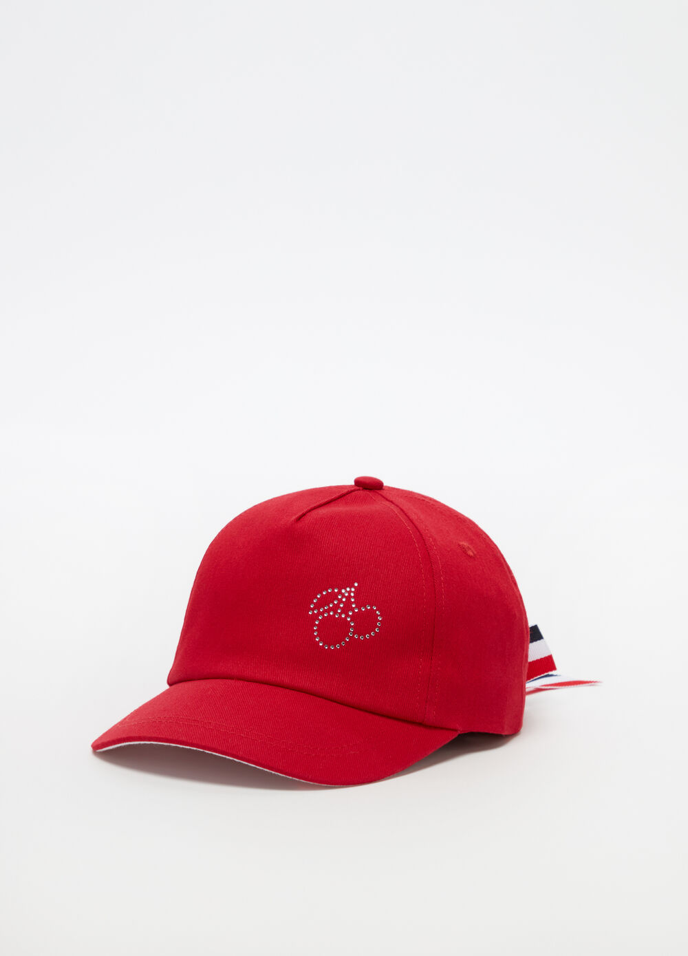 Solid colour hat with cherry motif diamantés