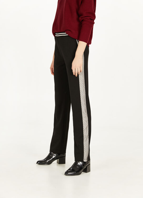 Stretch trousers with tulle bands