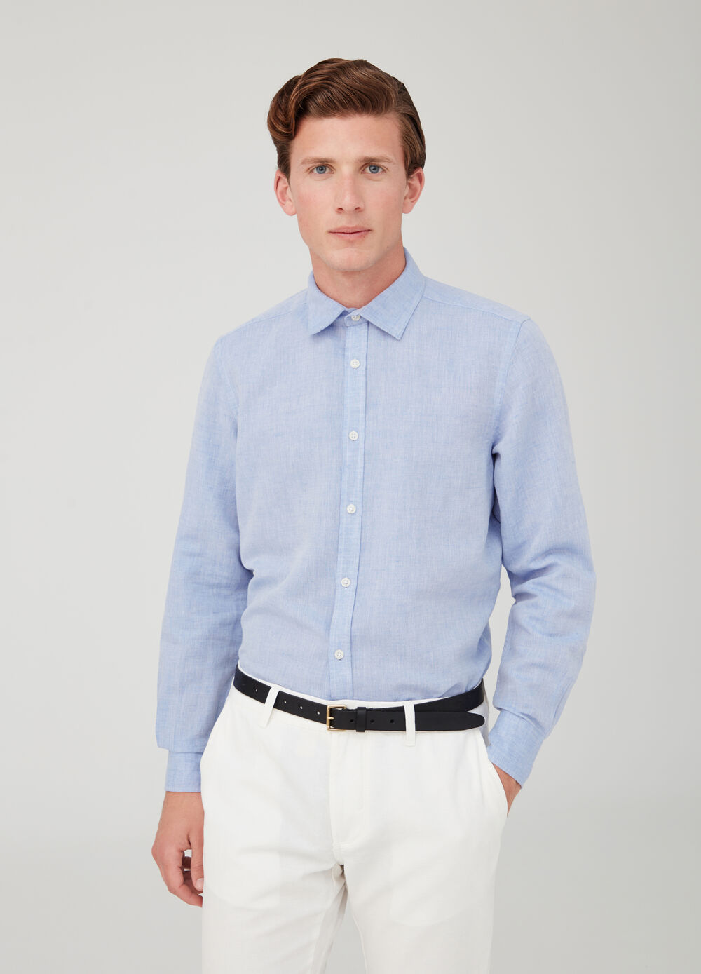 Solid colour linen and cotton shirt