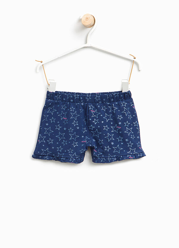 Glitter star patterned stretch shorts
