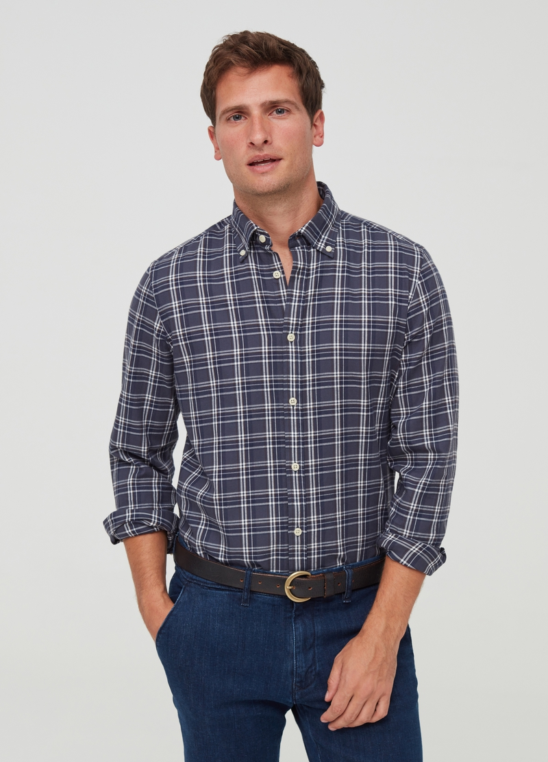 PIOMBO 100% cotton check shirt image number null
