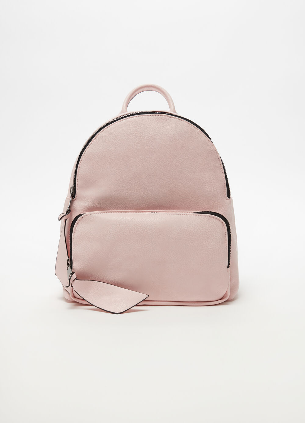 Leather-look backpack with zip and pocket