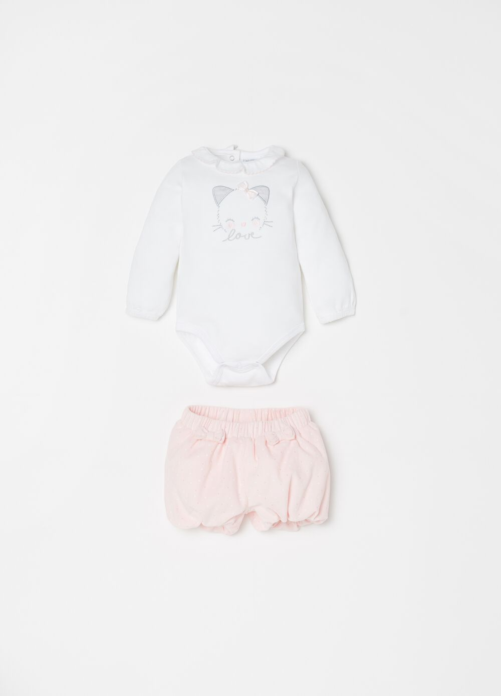 Bodysuit and shorts set with embroidery and polka dots