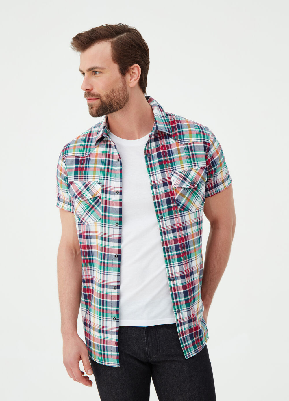 Slim-fit shirt with madras check pattern