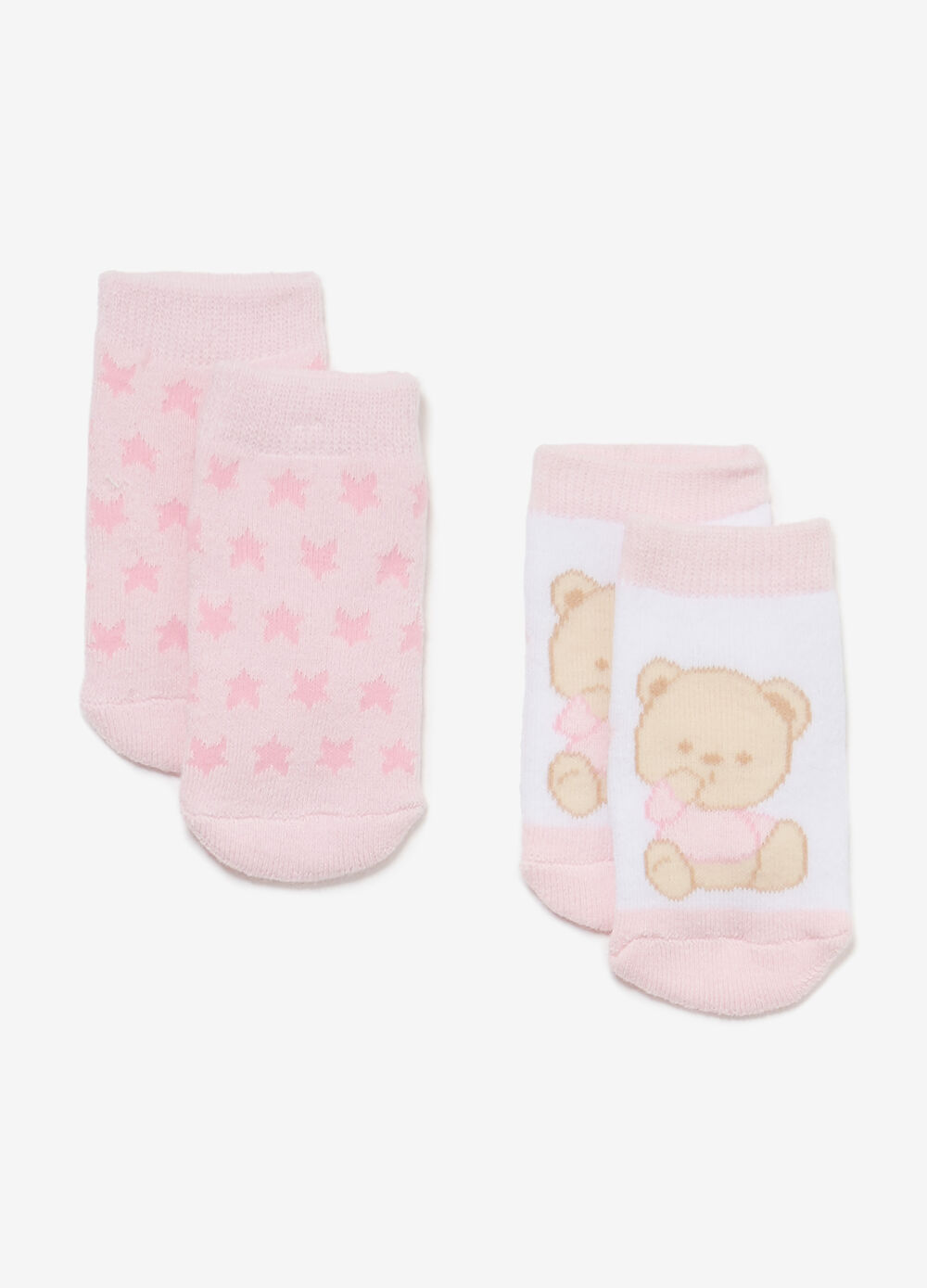 Two-pair pack stars and teddy bears socks