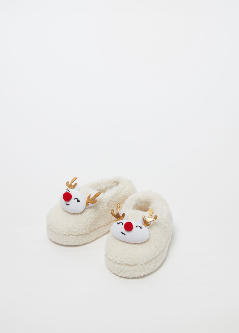 Slippers with Christmas reindeer insert
