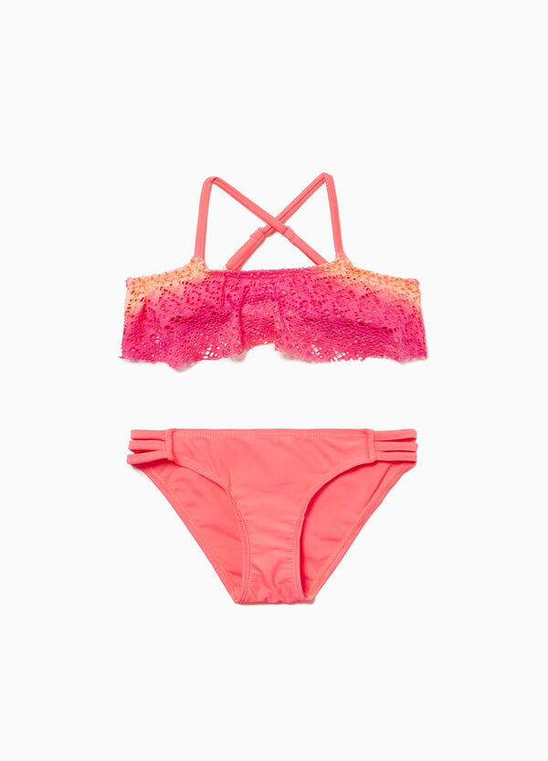 Stretch lace bikini bottoms with laces