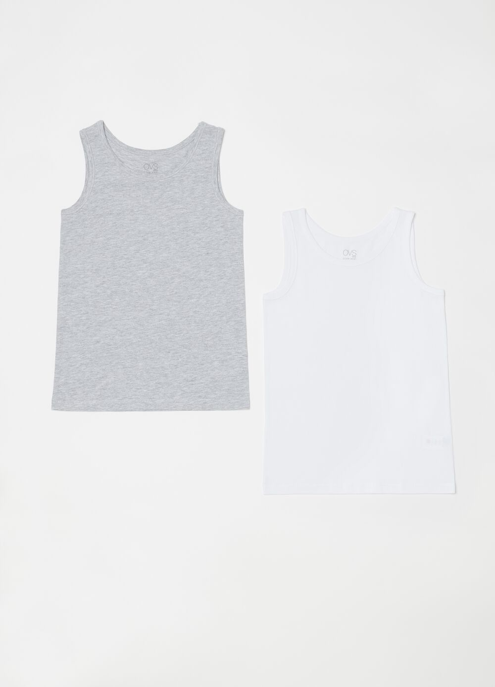 Set of two smooth biocotton vests