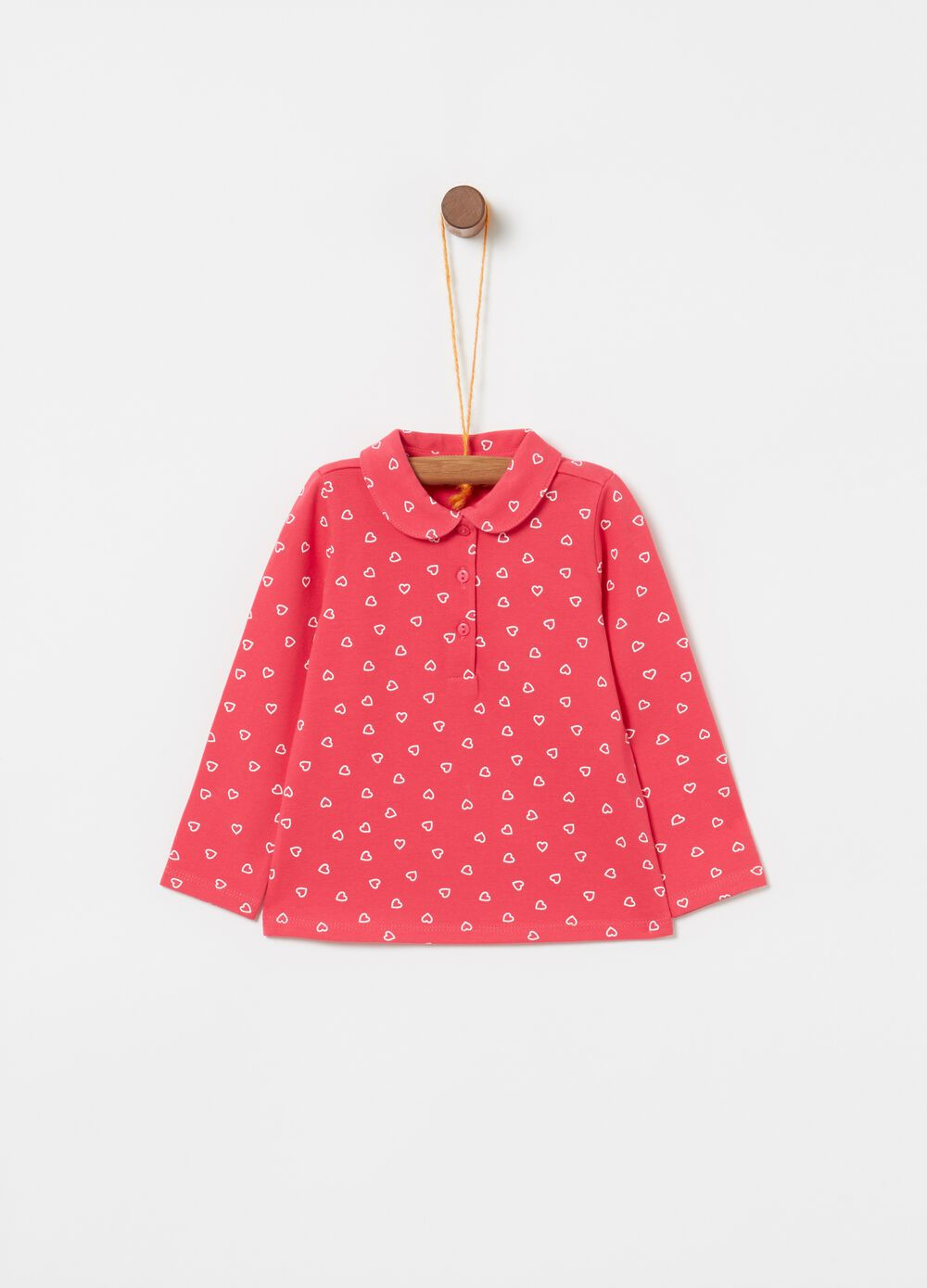Stretch cotton polo shirt with hearts print