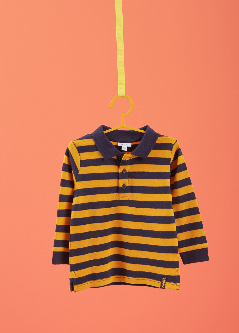 Striped 100% cotton polo shirt with side splits