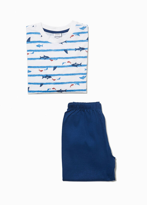 Stripe and fish patterned pyjamas