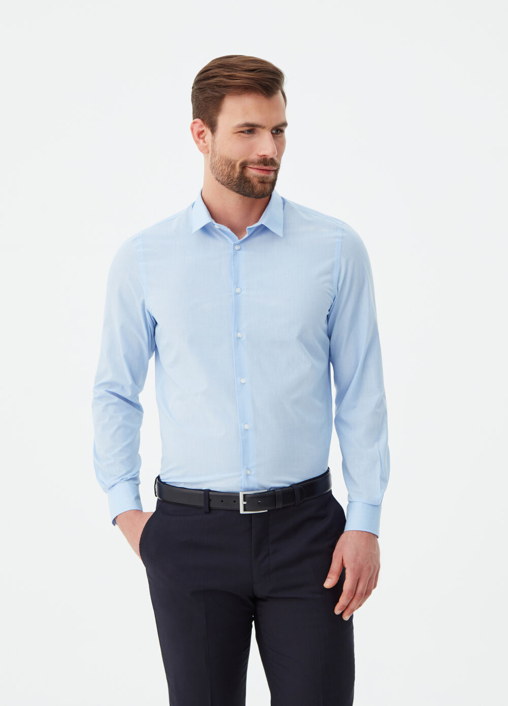 Cotton blend micro-check shirt