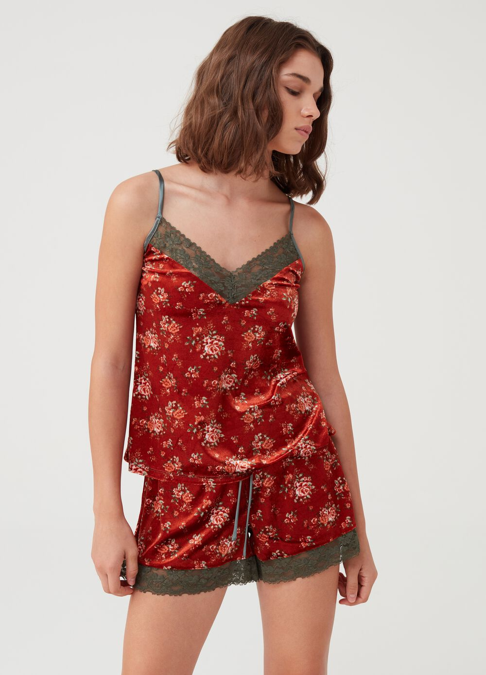 Velvet pyjama top with floral lace