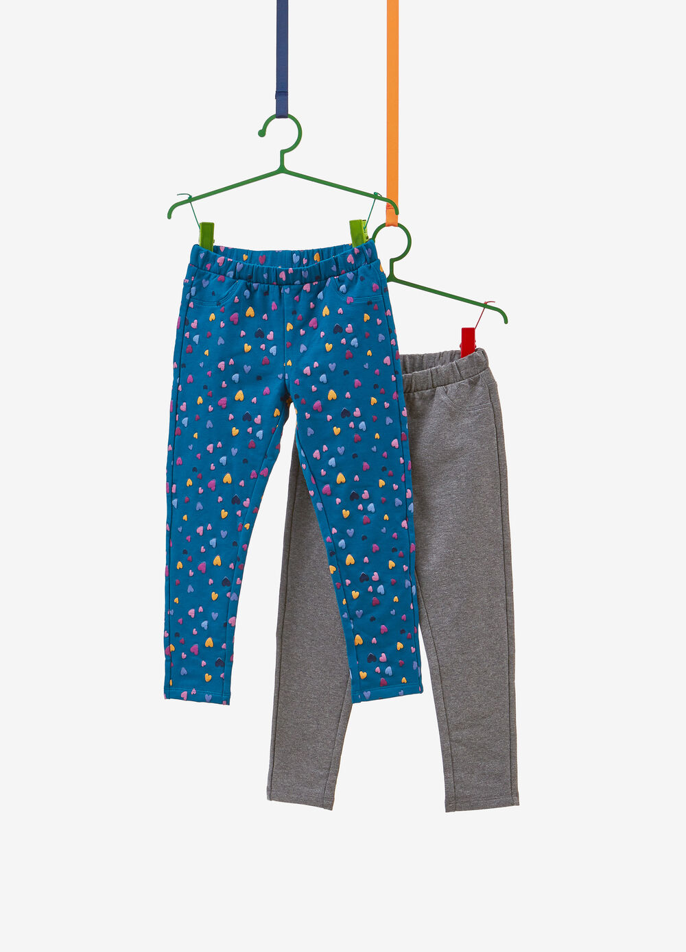Two-pack cotton jeggings with hearts and solid colour