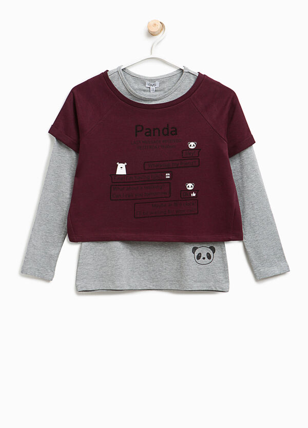 Faux layered T-shirt with print | OVS