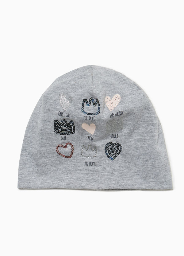 Jersey beanie cap with hearts and crowns