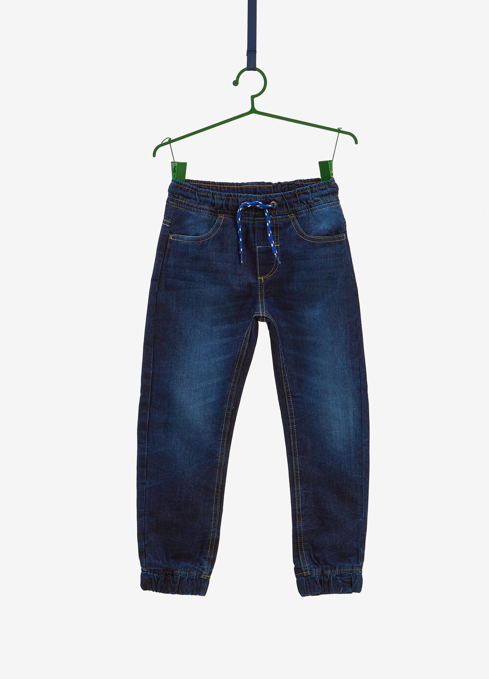 Jogger-fit used jeans with drawstring