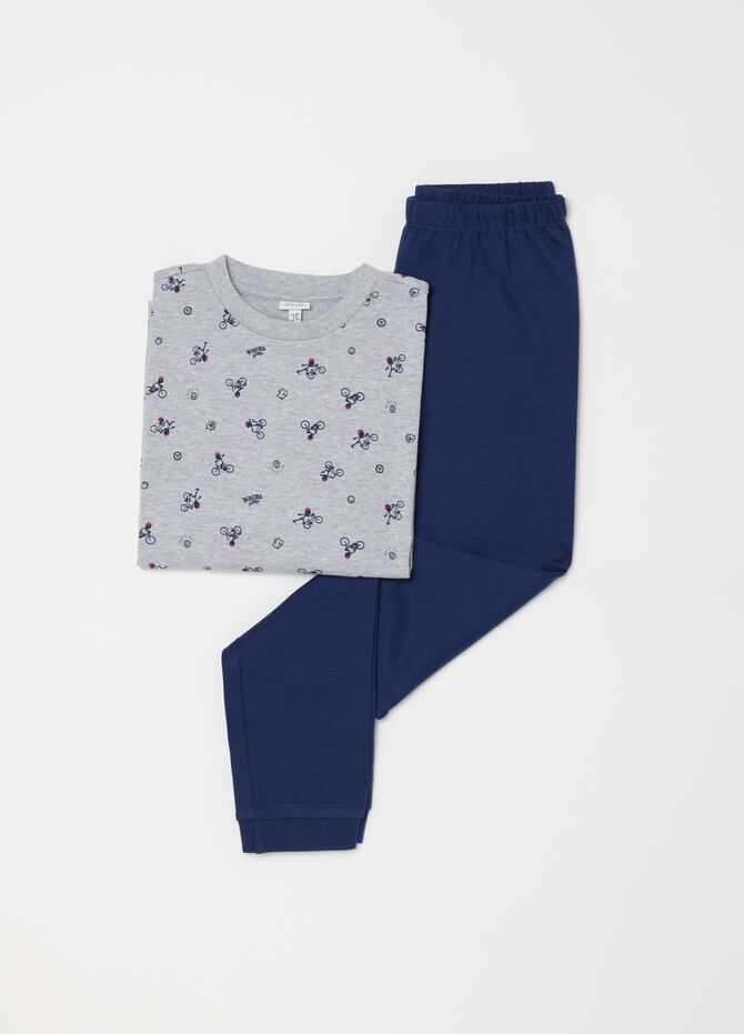 Patterned pyjamas with top and trousers