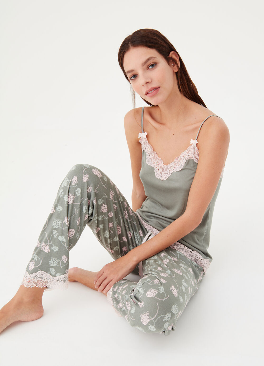 Pyjama trousers in patterned jersey