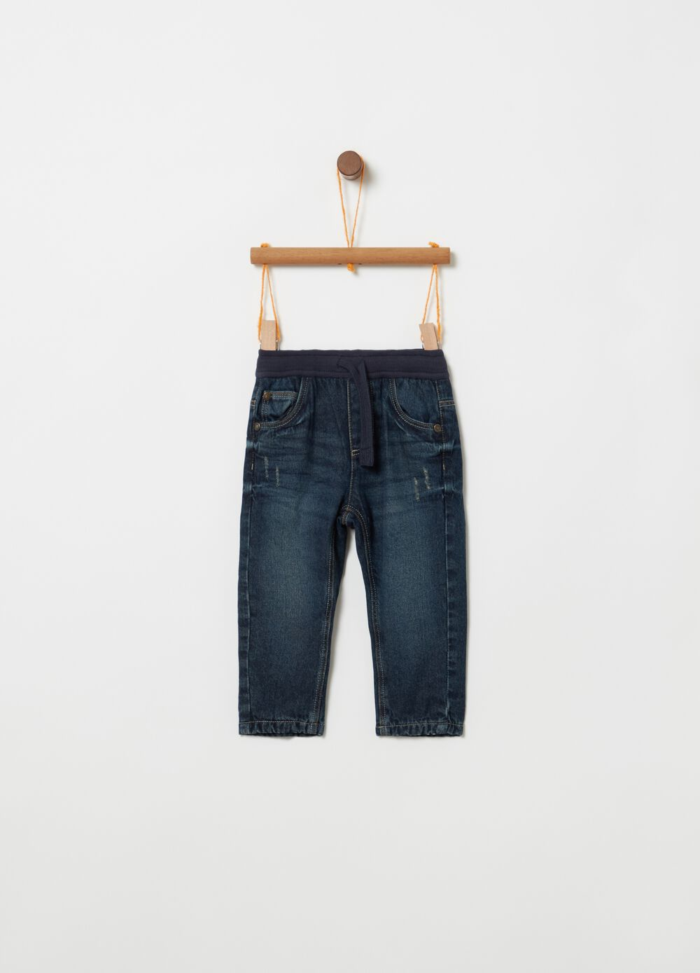 Regular-fit lined jeans with drawstring