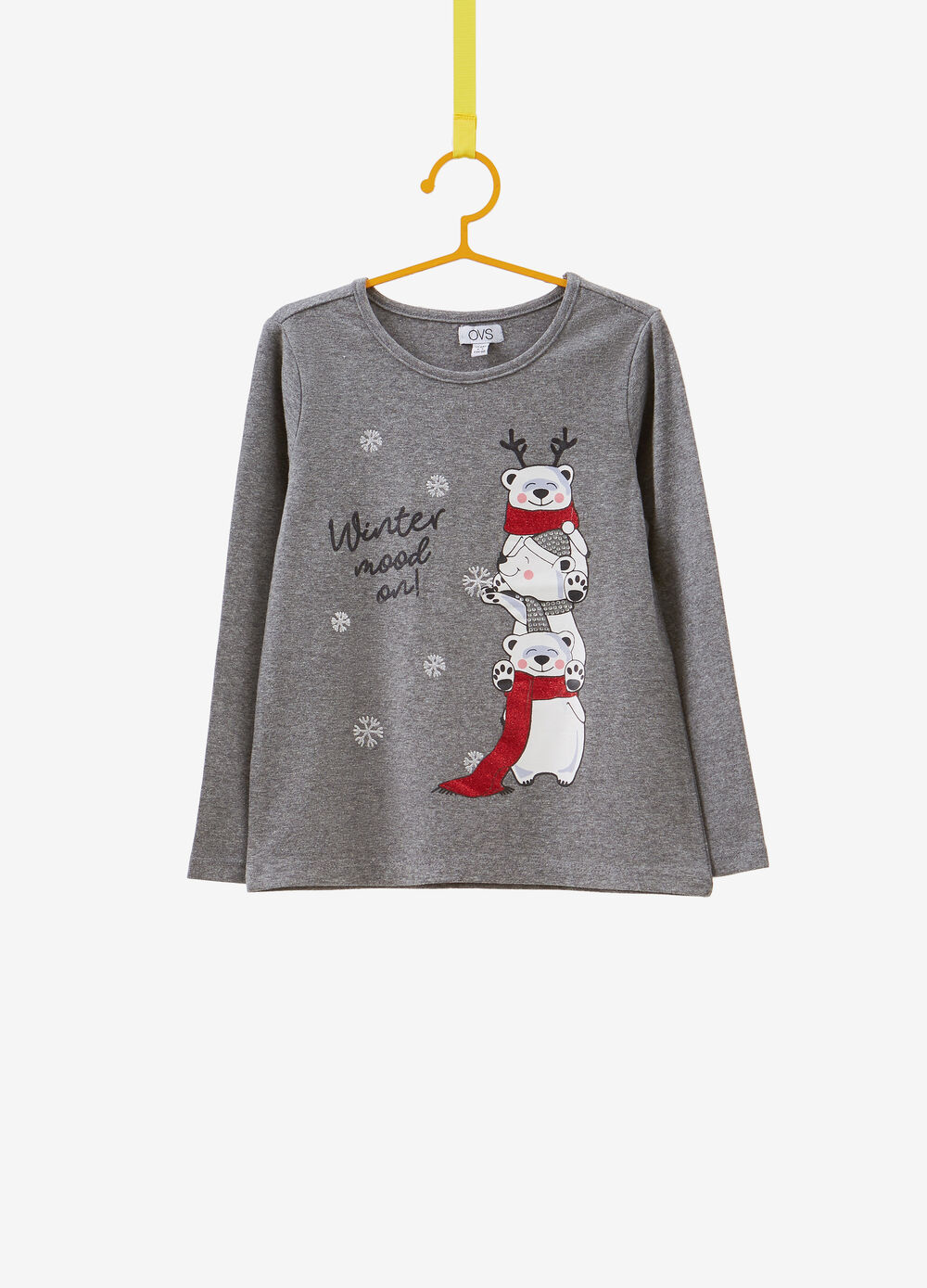Stretch cotton T-shirt with Christmas print