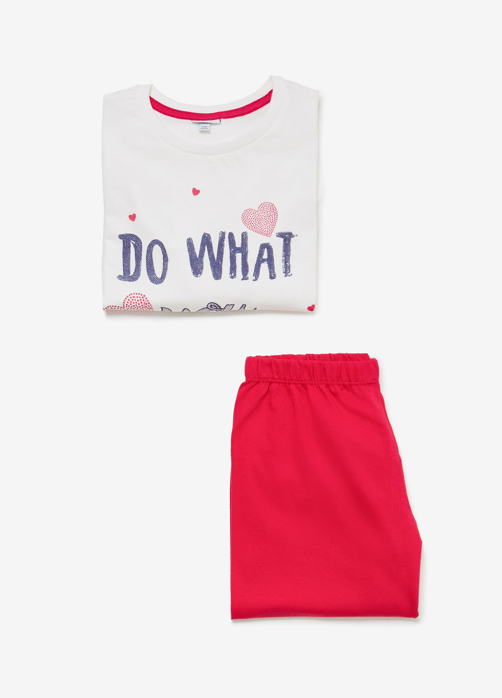 Cotton pyjamas with lettering and hearts print