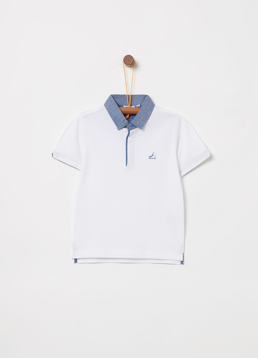 Piquet polo shirt with chambray inserts with embroidery