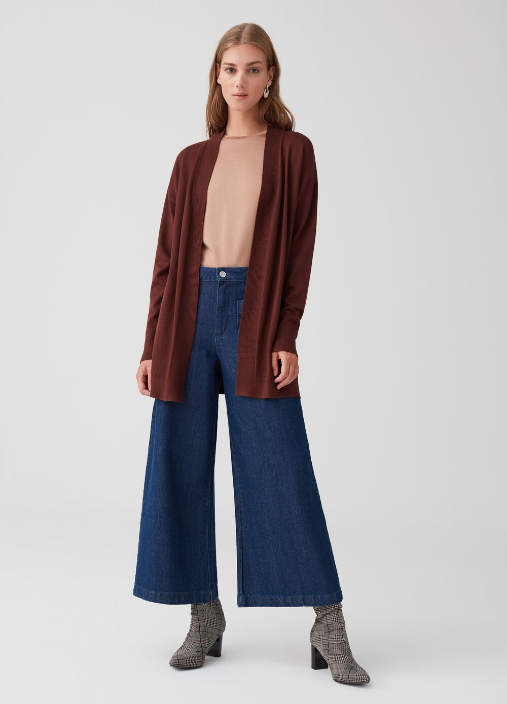 Long knitted cardigan with ribbing