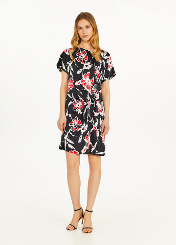 Floral dress with boat neck