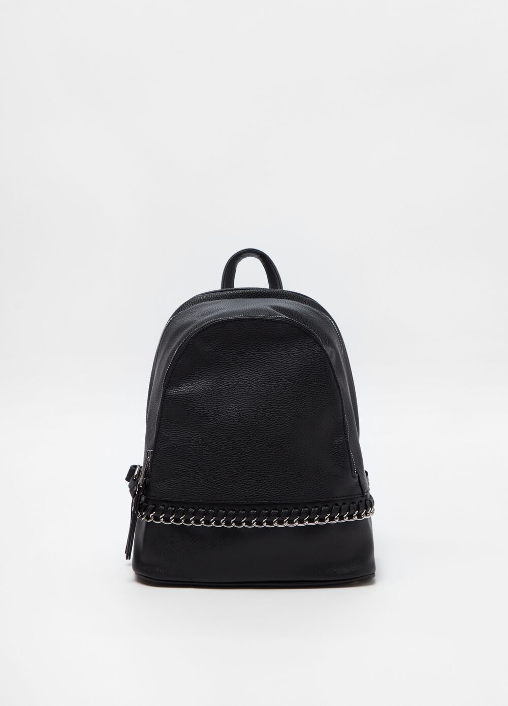 Textured-effect backpack with chain