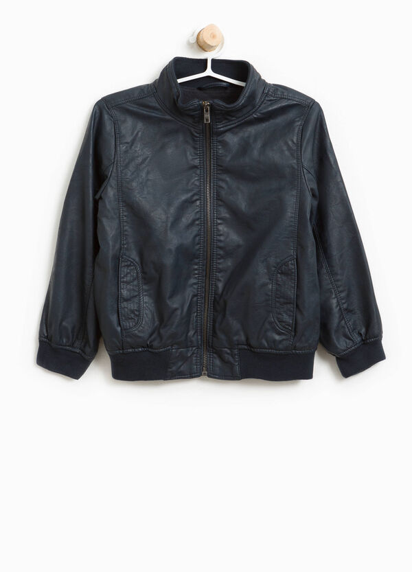 Textured-effect leather-look jacket