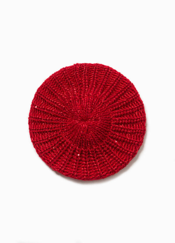 Solid colour beret with sequins | OVS