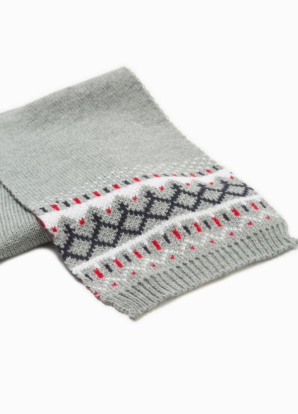 Knitted scarf with geometric embroidery | OVS
