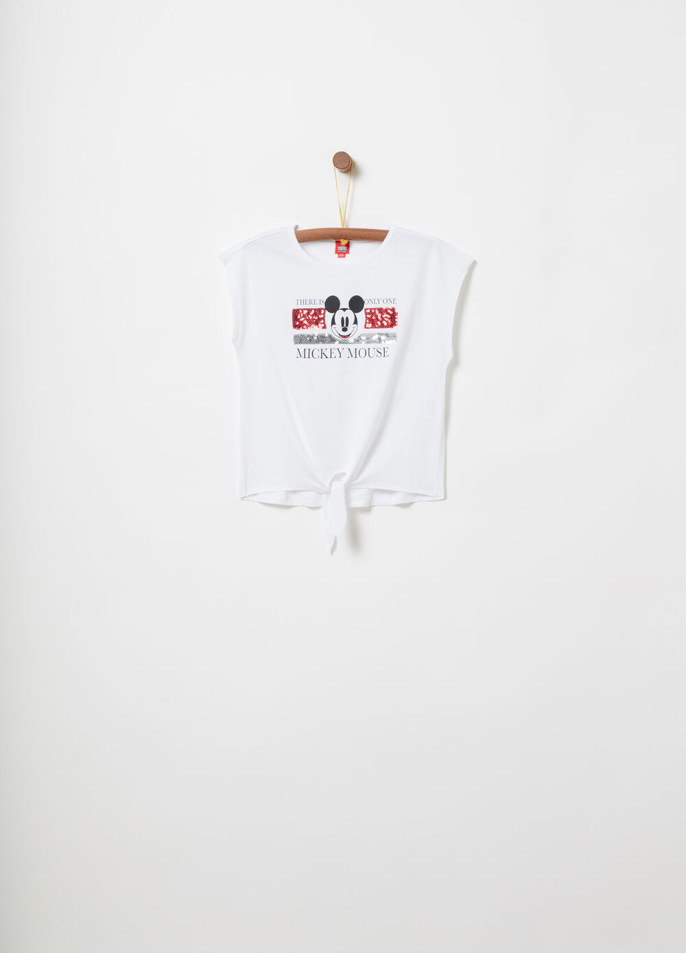 Boxy T-shirt with Mickey Mouse knot