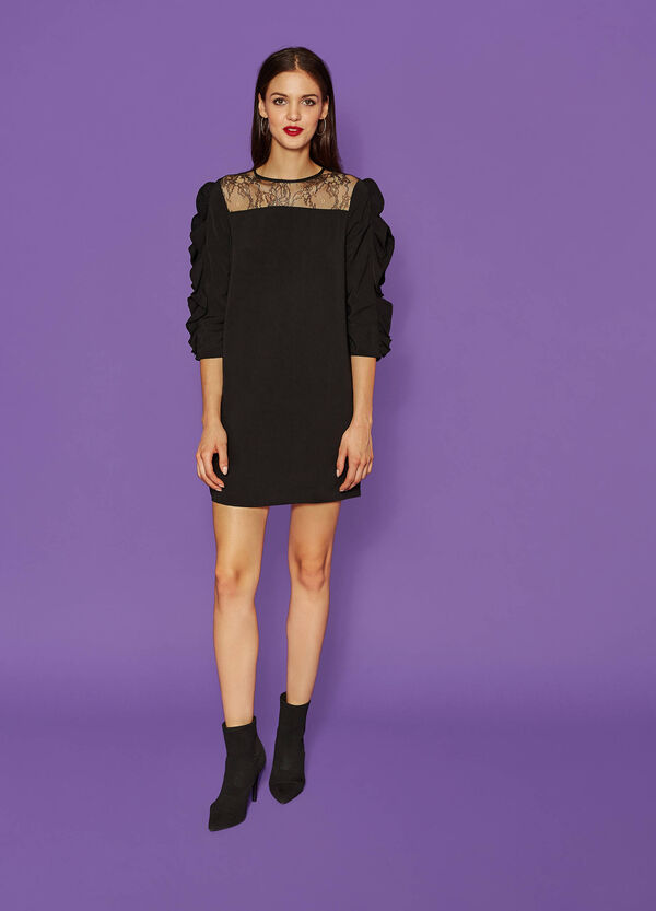 Dress with lace and flounce | OVS