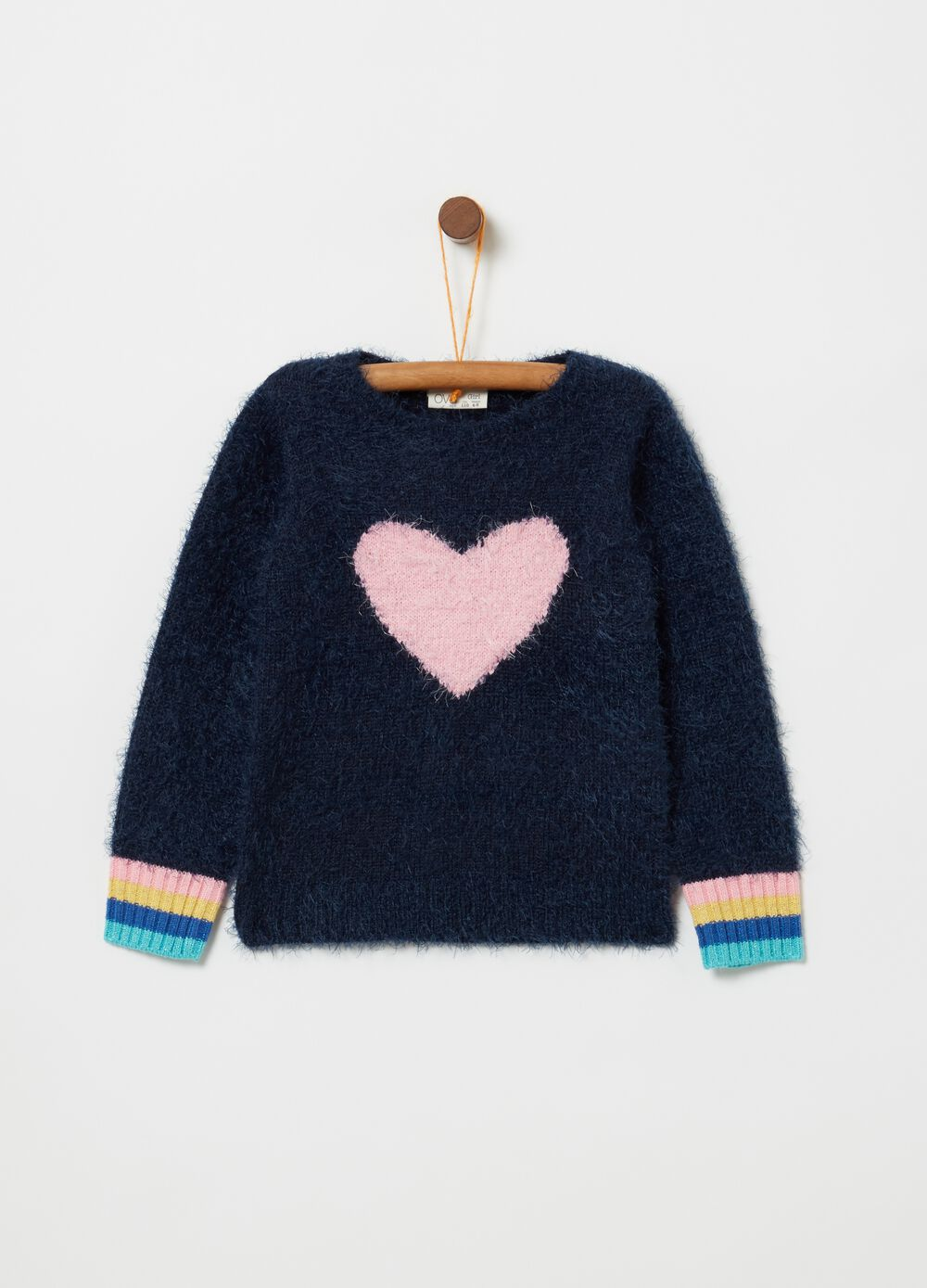 Knitted lurex top and heart embroidery