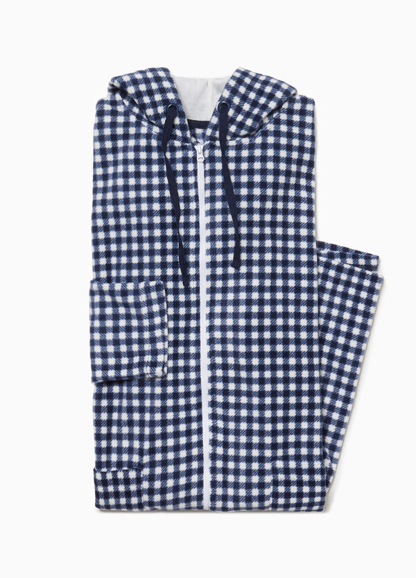 Dressing gown with check hood