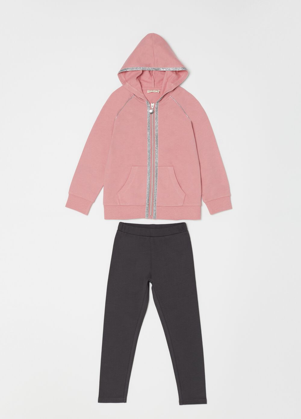Jogging set with sweatshirt and trousers with glitter print