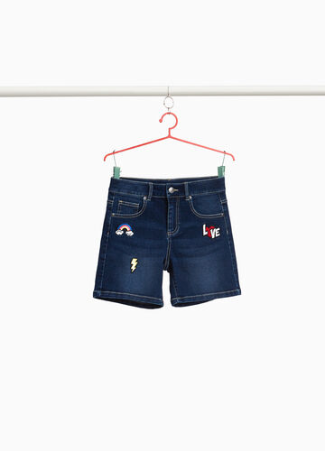 Stretch denim shorts with patches