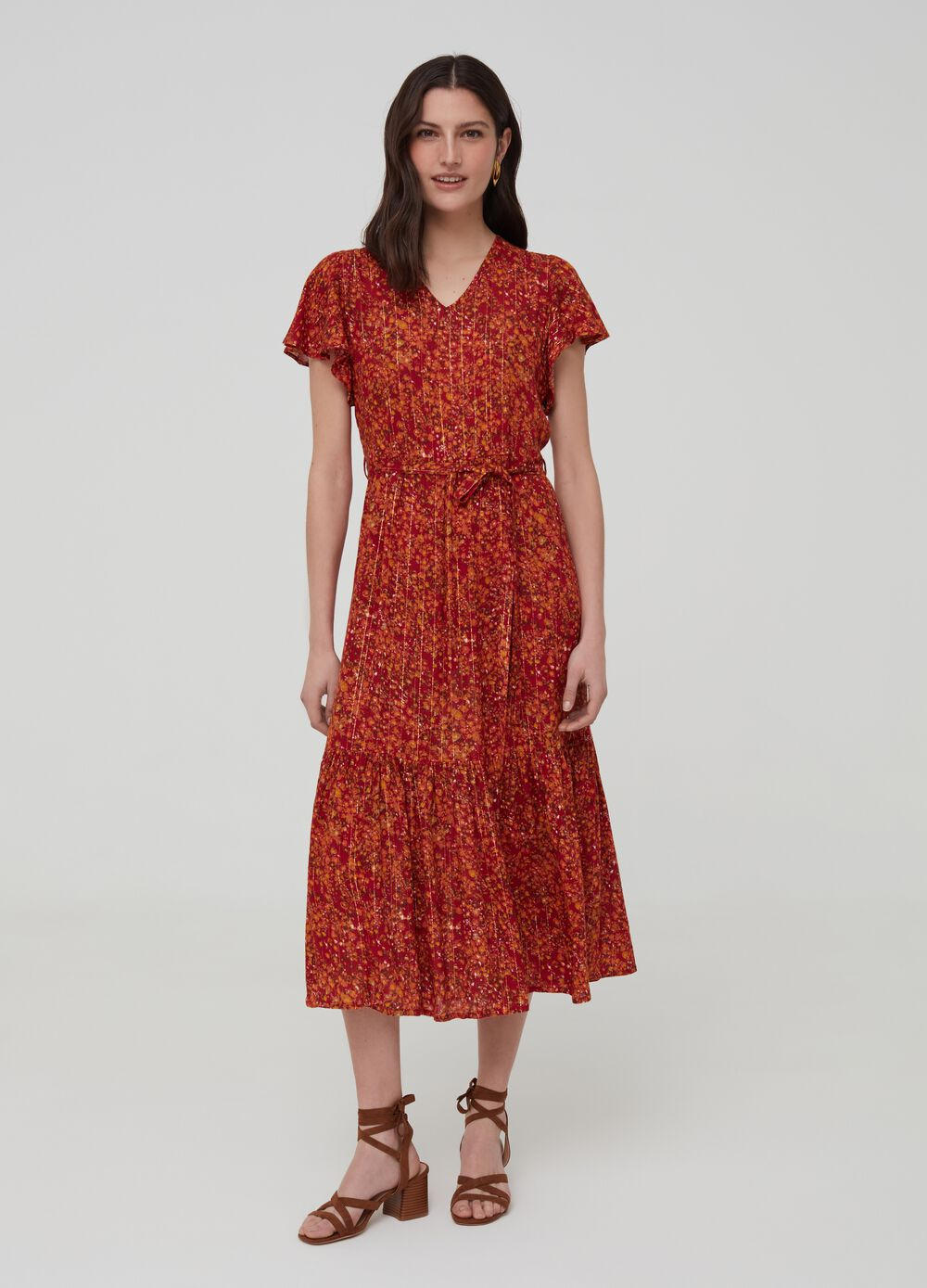 Dress with V-neck and lurex pattern
